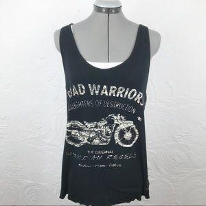 "Rock&Republic Black ""Road Warrior""Biker Tank Top"